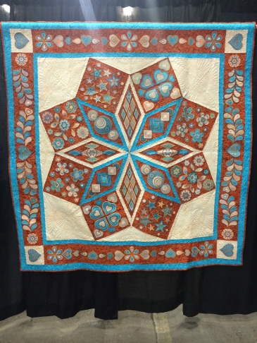 """BeDazzled"" by Peggy X. Forest. Machine pieced, embroidered, and quilted."