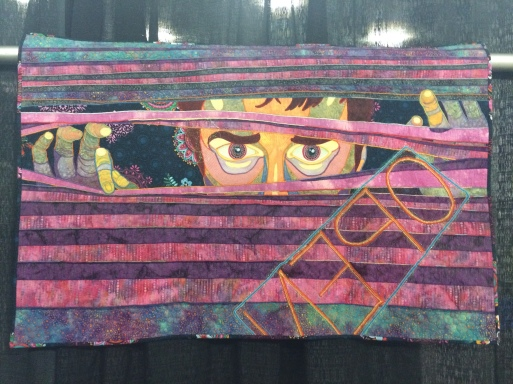 "Judge's Choice: ""Open All Night"" by Sheila Riess from Ellicott City, MD. Machine appliqued, machine quilted, original design. Sheila writes: My past, present and ever hopeful future inspires my quilting. Using people I know and love as subjects and random thoughts I have come full circle when I lose myself in fabric and thread and end up with a great quilt!"